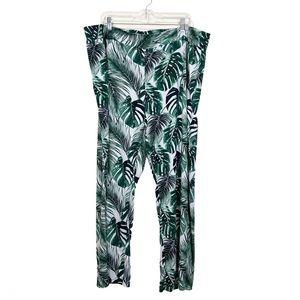 IMAN 3X Short Pull On Wide Leg Pants Leaf Print